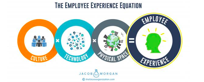 Jacob Morgan's The Employee Experience Equation defines  the three environments that make up every single employee experience at every organization around the world (culture, technology, and physical space).