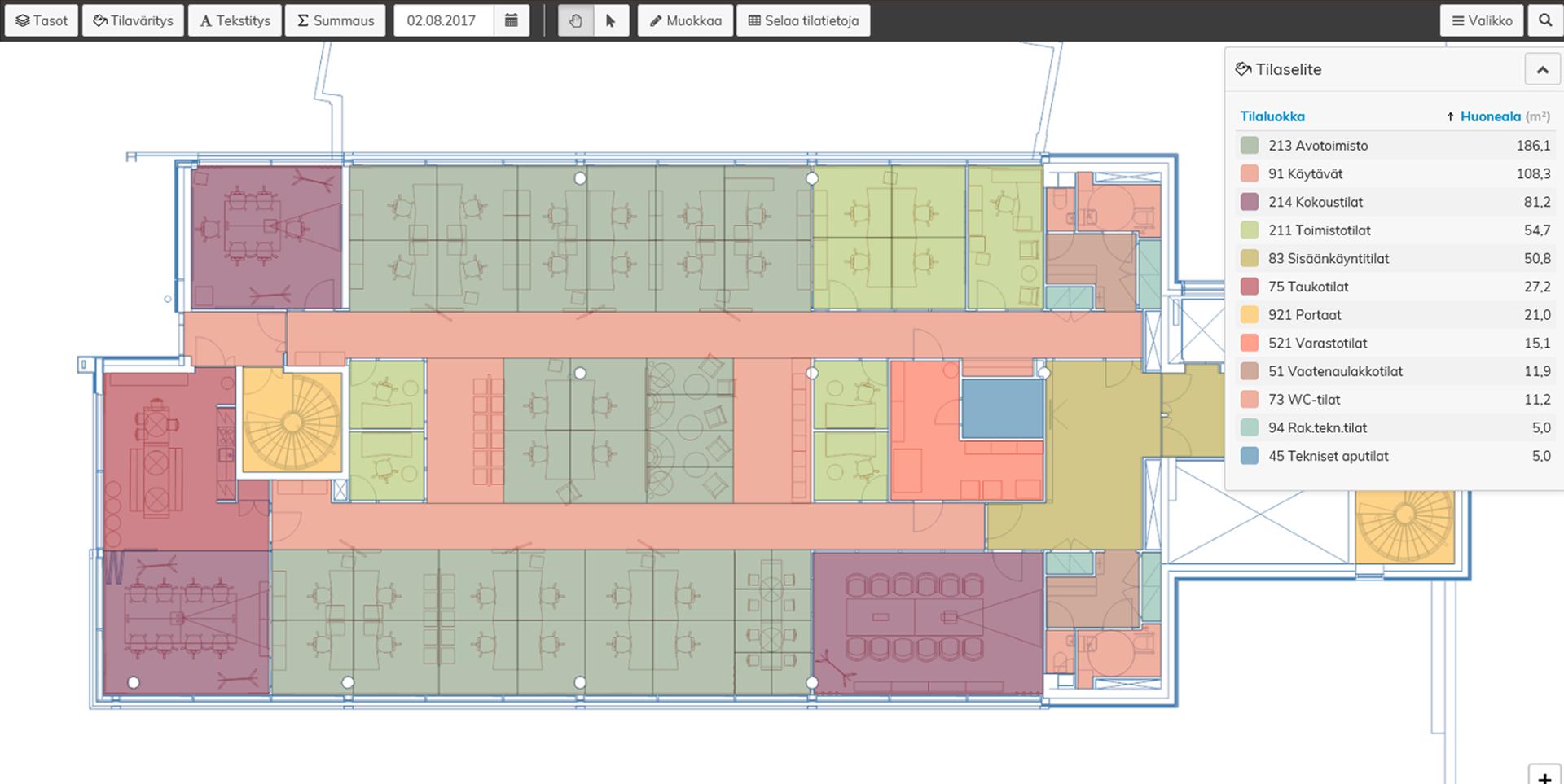 Optimaze-ohjelmistossa tilatietosi on ajan tasalla ja koottuna yhteen graafiseen järjestelmään.