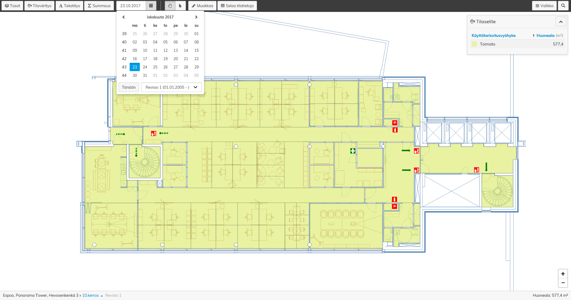 Havainnollisiin Optimaze pohjapiirustuksiin voit esimerkiksi lisätä pelastussymboleja, määritellä tiloille voimassaoloaikoja ja luokitella tilat käyttötarkoituksen mukaan.