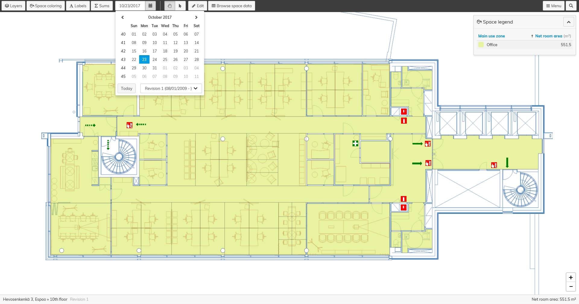 Use the Optimaze floor plans to allocate validity periods for spaces, classify operational sections and create rescue plan visuals.