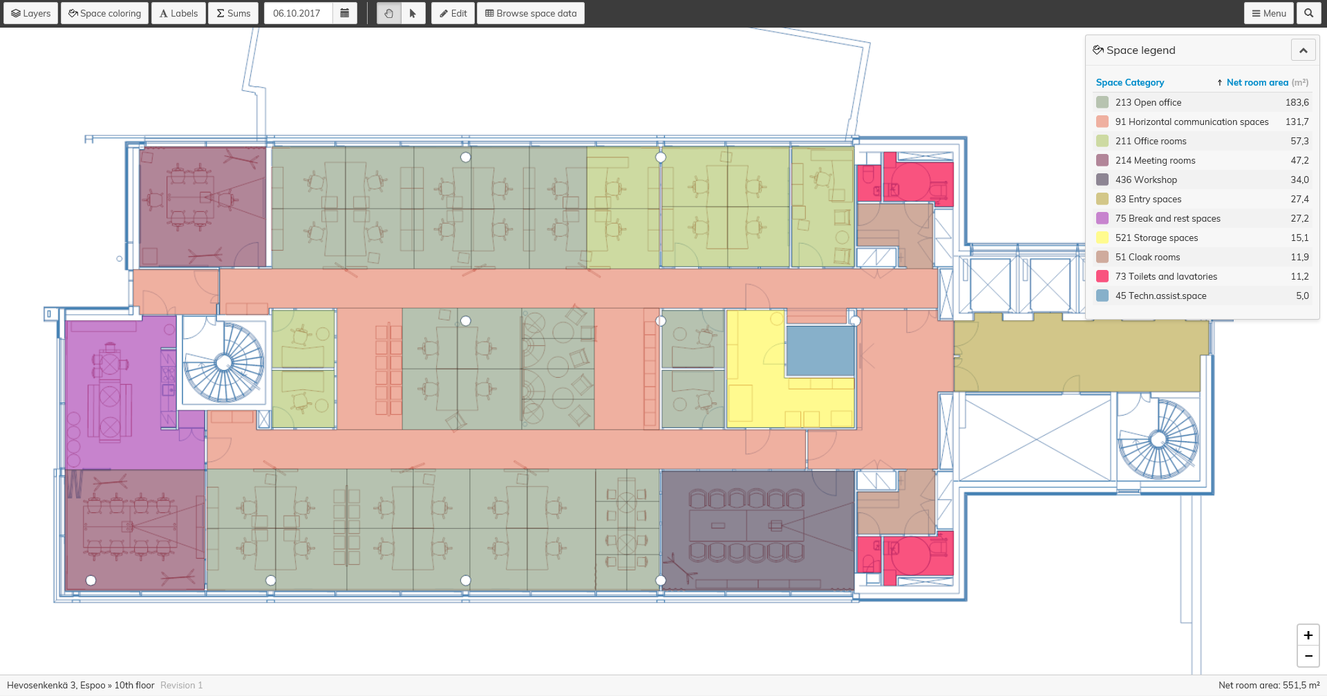 Optimaze space management software displays your workspaces and other facilties as graphic floor plans.