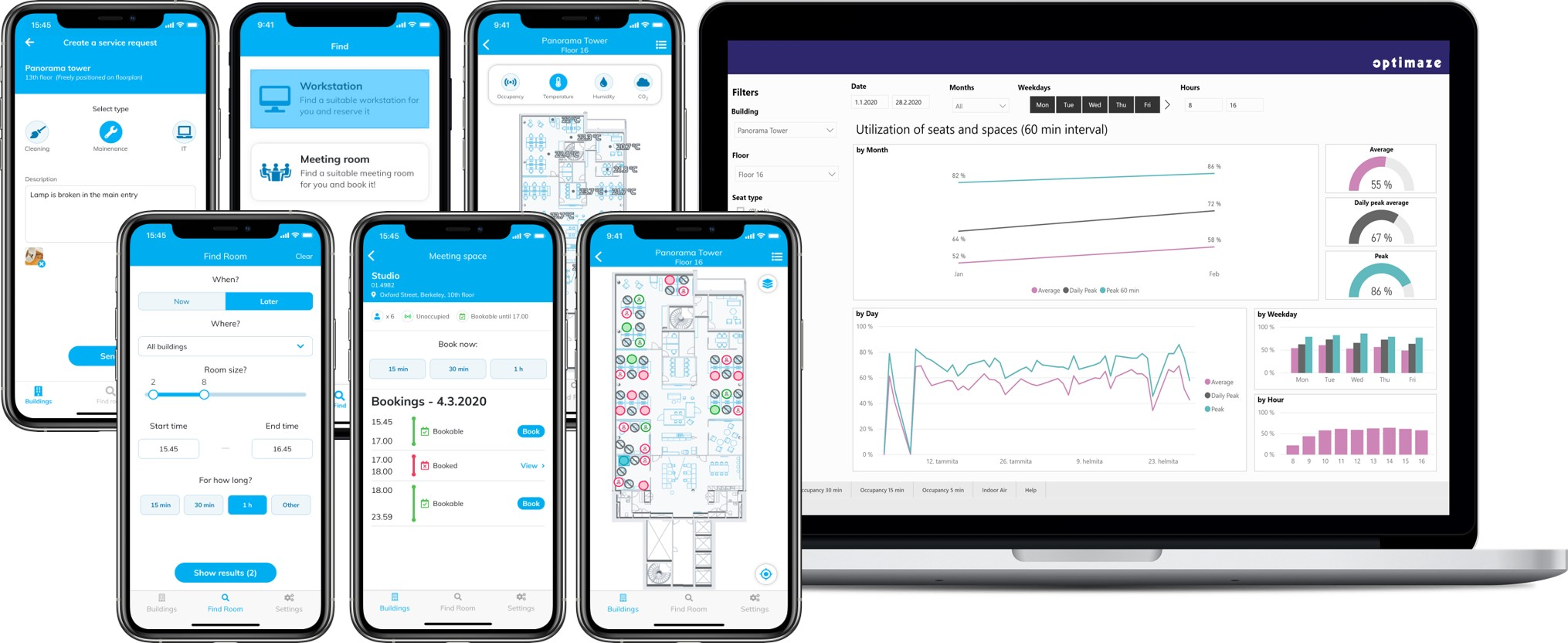 Employees can book workspaces and meeting rooms in their own mobile app, the workplace professionals collect data and optimze workspace usage.