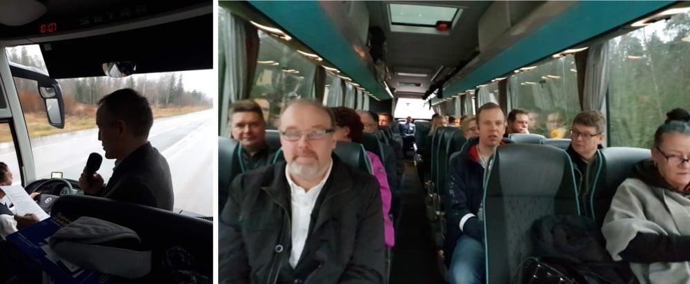 Alkumatkan tunnelmia bussissa