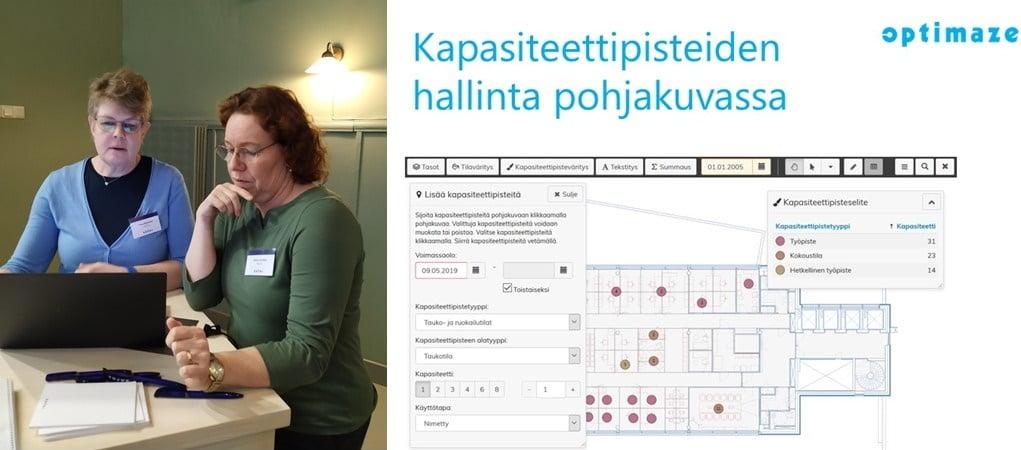 Vasemmalla vanhemmat asiantuntija Tiina Ryynänen ja Riitta Hartikka, oikealla kapasiteettipisteiden hallinta pohjakuvassa