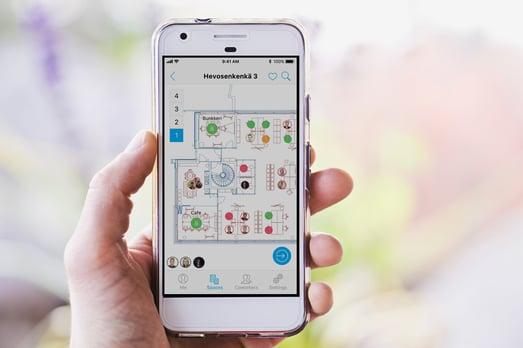 The Optimaze Worksense mobile App shows workplace floorplans, IoT sensor data, online calendars and more.