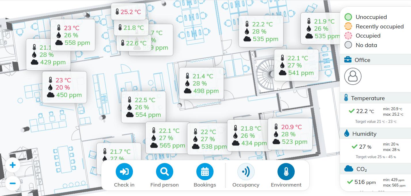 Worksense Indoor Climate Sensor Data Visualized on a Digital Floorplan