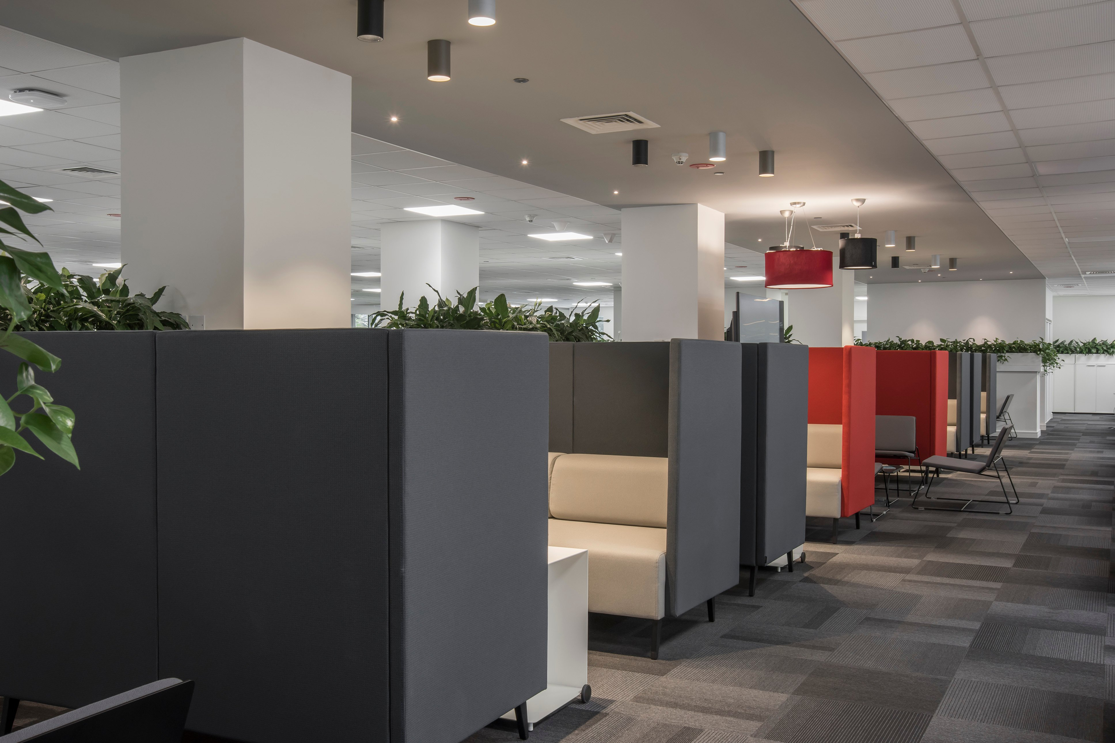 Meeting modules provide private and comfortable meeting space in Canon's new activity based office space.