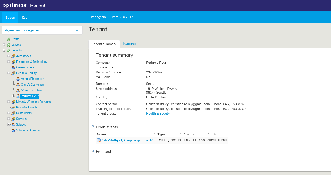 View of lease agreement management tool.